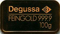Degussa Goldbarren 100 Gramm